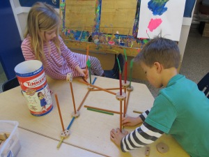 Jack and Isabella began with Tinker Toys, but after several collapsed efforts, moved on to other materials.
