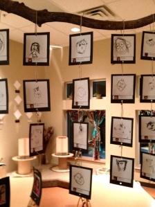 Display of children's work in Reggio classroom